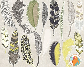 Feather Clip Art, Yellow, Blue, Tan & Green, Masculine Graphics, Commercial Use, Father's Day Digital Images, Royalty Free ClipArt