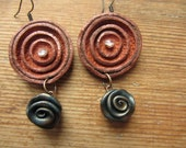 Upcycled Bronze Leather Earrings with Abstract Rose Beads, Boho Chic Leather Dangle Earrings, Leather Circles, Upcycled Recycled Jewelry