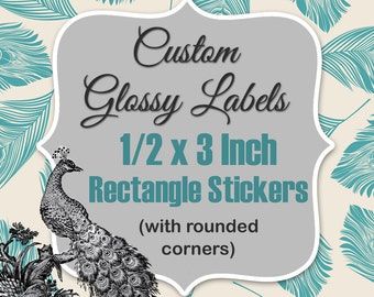 Custom Glossy 1/2 x 3 Inch Rectangle Labels Printed with Roll Fed LX900 Primera Label Machine