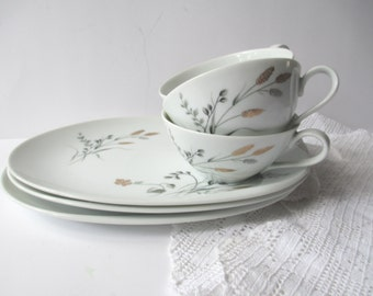 Vintage Noritake Luncheon Set Teacups Wheat Platinum and Gold Set For Three - Tea Parties