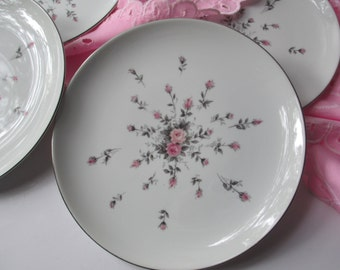 Vintage Salad Plates Harmony House Rosebud Pink Gray Set of Four