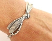 Dragonfly Bracelet- Sterling Silver Ox or Antiqued Brass Ox Finish- Personalized Bracelet