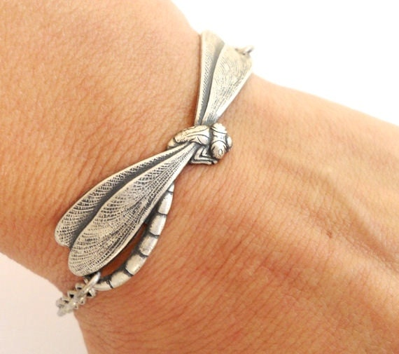 Dragonfly Bracelet- Sterling Silver Ox Finish- Personalized Bracelet