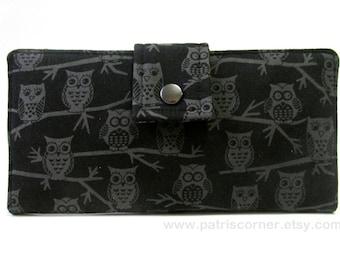 Handmade woman's wallet clutch  Small owls on black - Custom order