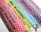 Design Your Own Riley Blake Small Polka Dots - Personalized Lanyard ID Badge Holder - Monogrammed - Key Strap