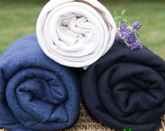 Hemp Fleece Fabric Black,  by the yard, SALE