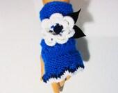 Hand Knit Blue Fingerless, Blue Women Gloves, Women Mitten, White And Blue Fingerless Gloves, Arm Warmer,Blue Halffinger