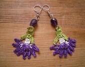 crochet flower earrings, purple, white, green, dangle