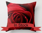 """18"""" Rose Pillow Cover, Floral Red Photo Cushion Case, Romantic Bedroom Decor, Feminine, Unique Canadian Handmade Gift Ideas for Women, Wife"""