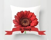 "16"" Red and White Floral Pillow Cover, Flower Photo, Gerbera Decorator Cushion, Country Home Accent, Valentine's Day Gift Ideas for Women"