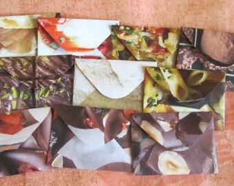 "10 Mini Envelopes - Recycled Magazine - Food Themed - RecipeThemed -  Recycled Mini Envelopes - Tiny Envelopes - 1.5"" x 2"""