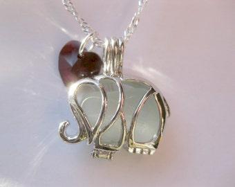 Sea glass Lucky Elephant Locket Sea Glass Jewelry Beach Glass Jewelry Handmade, Custom Jewelry