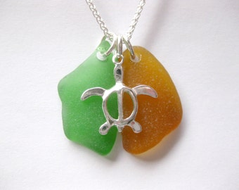 Sea turtle Jewelry Sea glass jewelry charm necklace  SS sea turtle necklace