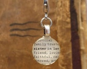 Sister-in-law Dictionary Word Clip-on Charm Antique Vintage Look Gift by Kristin Victoria Designs
