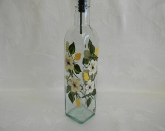 Oil decanter-painted oil decanter-painted Soap dispenser-Ivory flower design
