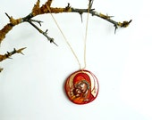 Art Pendant Necklace Virgin Mary and Christ, Chrsitmas Gift, Miniature Handpainted Icon