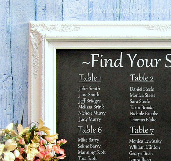 WEDDING SEATING CHART Ideas Decorations Chalkboard Framed White Unique Wedding Ideas Chalkboard Wedding Menu Display Board Wedding Signs