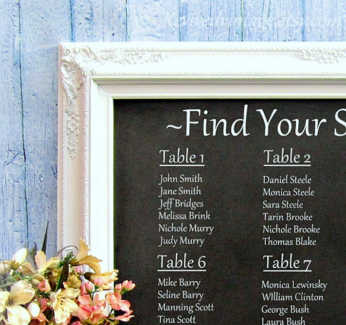 Wedding seating chart ideas decorations chalkboard framed zoom junglespirit Image collections