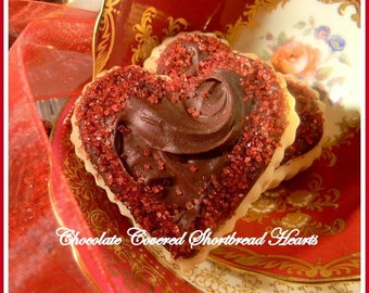 ... Almond Valentine or Wedding Heart Shortbread Cookies with Red or Pink