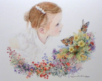 Aceo Miniature Picture Art Trading Card Picture Girl Flowers Butterflies