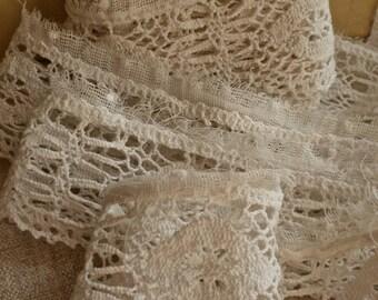 Antique Lace. Vintage Midland Lace Trim, White Cotton, 2.4 ys Handmade Edging, Home Decor Dolls & Bears