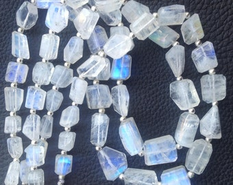 Brand New, Amazing Blue Flashy RAINBOW MOONSTONE Faceted Nuggets ,8-14mm,Full 8 Inch Strand,Amazing Rare Item