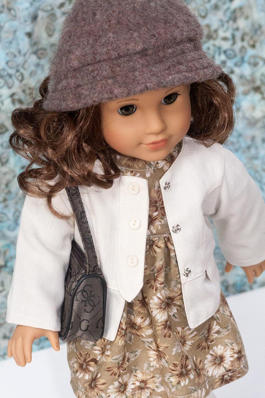 American Girl Doll Clothes Tan Print Baby Doll Dress Jacket