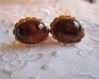 Vintage Authentic Amber Pierced Earrings