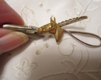 Vintage Silver Tone Hickok Tie Clasp with Gold Tone Horses Head On It from 1950's