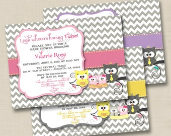 Owl Family Whooo's Having Twins Custom Baby Shower Invitation Design- choose twins or single baby owl