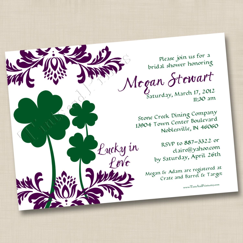 Lucky In Love Custom Bridal Shower Invitation Or Wedding