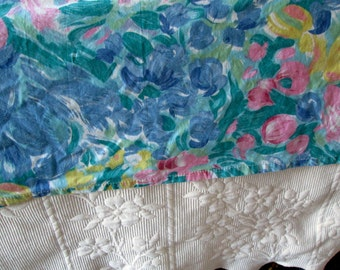 Full Size Flat Sheet Floral Blue