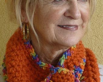 Women Scarf / Women Fashion / SALE ITEM / Hats by Anne /  Winter Cowl / Orange Crochet Neck Warmer / Ski Accessories / Colorado Clothing