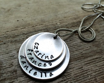 Custom Hand Stamped Layered Family Necklace - Silver / Aluminum
