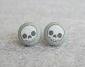 Adorable Skulls Fabric Button Earrings