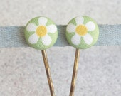 Spring Daisies Fabric Covered Button Bobby Pin Pair