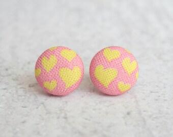 Warm Hearts Fabric Button Earrings