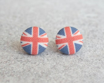 Union Jack, Fabric Covered Button Earrings