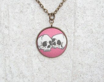 Two Skulls, Fabric Button Pendant Necklace
