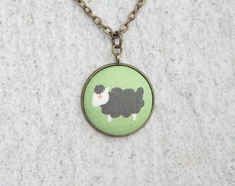 Black Sheep, Fabric Button Pendant Necklace