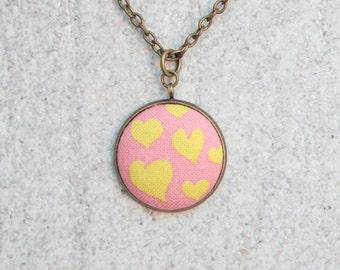 Warm Hearts, Fabric Button Pendant Necklace