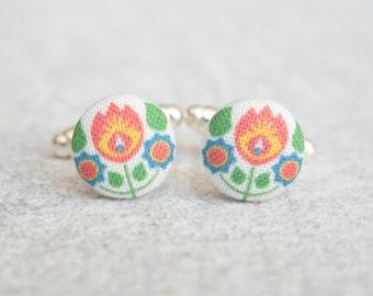 Bohemian Fabric Covered Button Cufflinks