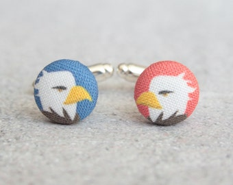 Bald Eagles, Fabric Covered Button Cufflinks