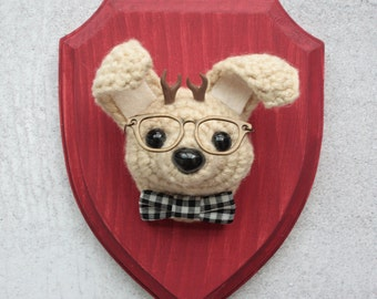 Faux Taxidermy Hipster Nerd Jackalope on Red Wood Plaque