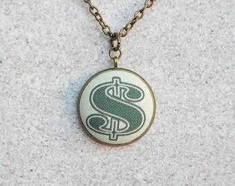 Money, Fabric Button Pendant Necklace