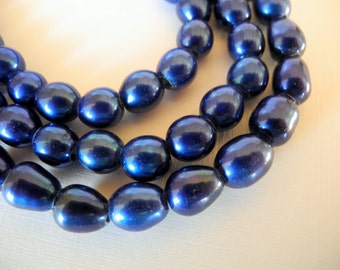Freshwater Large Hole Rice Pearls Royal Blue 9mm Half Strand 10 Pieces