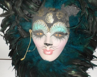 beautiful painted mask cat woman   cat  art deco wall mask pierrot signed hand painted