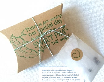 Sweet Pea Baby Shower Favors. Unique seed favors. Set of 10. Ready to Ship.