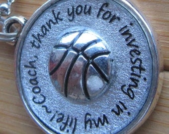 Basketball Coach pendant ...thank you for investing in my life...thank you gift word quote phrase pendant silver necklace with chain