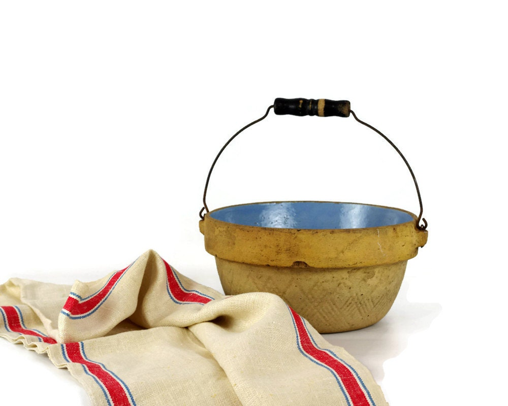 Stoneware Crock Bowl Milk Pan Wire Bail Handle Farmhouse